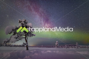 Vintergatan och norrsken, Kiruna :Milky way and northern lights, Kiruna, Swedish Lapland - Lappland Media